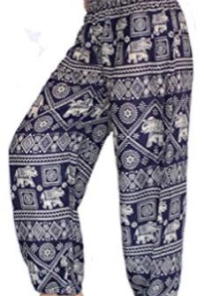 Women's Smocked Waist Harem Hippie Boho Yoga Palazzo Casual Pants - Edited